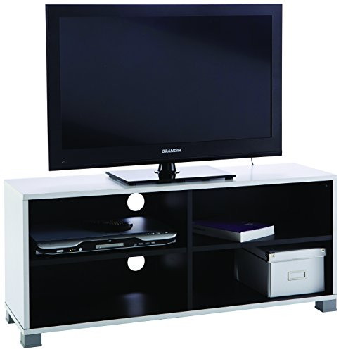 Mueble para televisor (con baldas inferiores), color blanco y negro