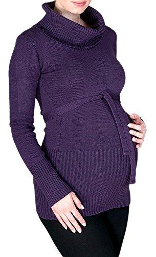 Happy Mama. Damen Umstands Strick-Tunika Jumper Pullover Rollkragen Gürtel. 358p (Lila, ONE Size EU 36/38/40,)