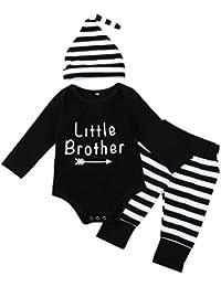HYMax Tout-Petits Bébé Garçons Lettre Romper Tops + Stripe Pantalons + Chapeau Tenue Vêtements Ensemble