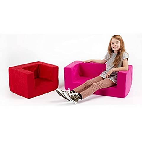 Children's Comfy Foam Armchair in Pink. Soft, Colourful, Comfortable & Lightweight with a Removeable Cover (Soft Toy Not