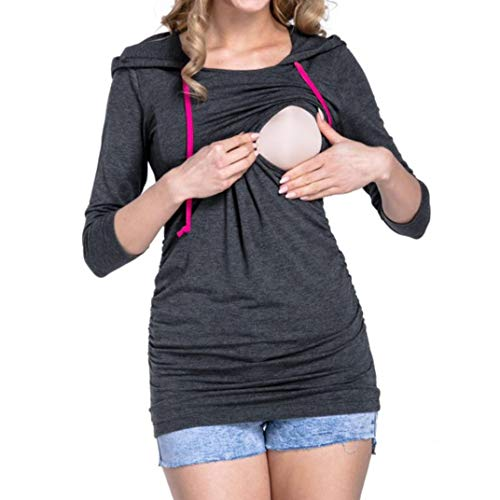 Lenfesh Femmes Automne Hauts d'allaitement Maternité Manche Longue Enceinte à Capuche Lenfesh shirt