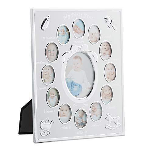 Relaxdays First Year, Monatsbillet Cadre Photo pour bébé en Aluminium 12 Mois 29 x 24 cm Collage à Poser Blanc