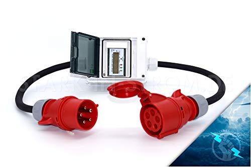 Digital Stromzähler Adapter - Ungeeicht - 400V / 32A CEE-Stecker auf 32A CEE Kupplung/Wattmeter/Energiezähler/Zwischenzähler/MID-Adapter/Starkstromzähler IP55. Qualität -Made in Germany- -