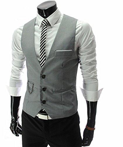Idol Herrenmode V-Ausschnitt Sleeveless Button-Down-Anzug Weste Weste (Damen Trennt Anzüge)