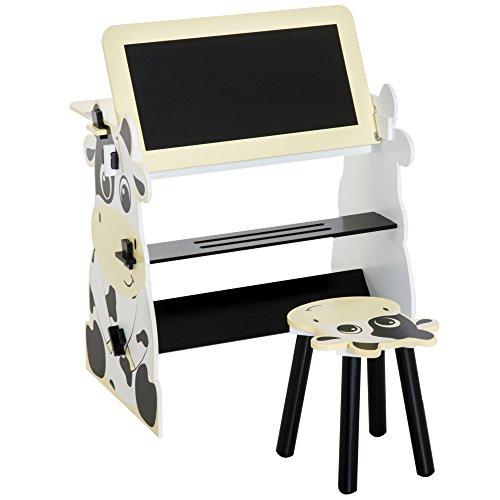 HOMCOM Kindermaltisch Schreibtisch Kinder Tisch Stuhl Spieltisch Kuh Mit Tafel 60x40x60cm