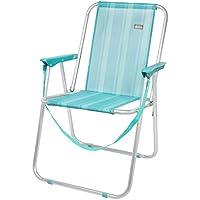Aktive 53959 Silla Plegable Fija Aluminio Beach, 47 x 54 x 75 cm, Azul mediterráneo