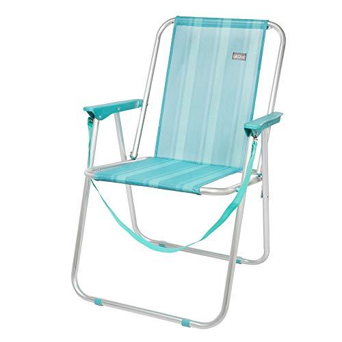 AKTIVE 53959 Silla Plegable Fija Aluminio Beach, 47 x 54 x 75 cm, Azul Claro