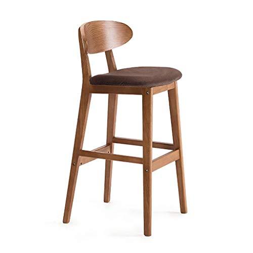 Stuhl Barhocker Gepolsterter Sitz Holzrahmen Hocker Frühstück Barhocker Bezug Waschbar FENPING (Color : Red Oak Brown Thousand Velvet)