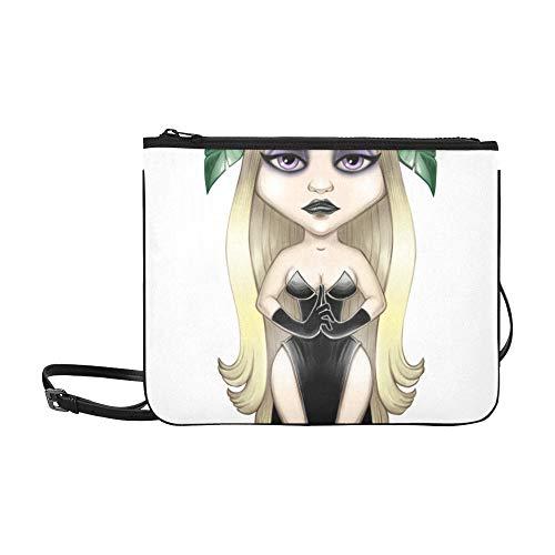 WOCNEMP Porträt eines schönen Mädchen-Todes-Musters kundenspezifische hochwertige Nylon-dünne Handtasche Umhängetasche ()