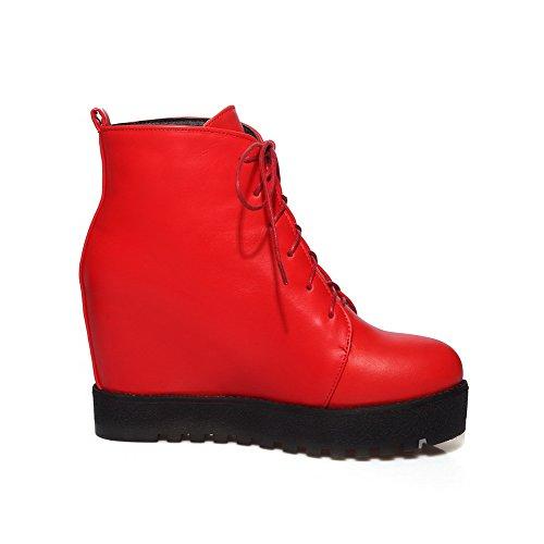 VogueZone009 Damen Schnüren Hoher Absatz Pu Leder Gemischte Farbe Niedrig-Spitze Stiefel Rot