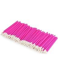 100 Unicorn Lashes - Reinigungsstäbchen für Wimpernverlängerung - Einweg Lippenpinsel, Farbe:Pink