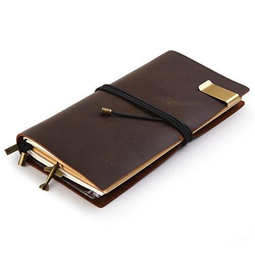 7Felicity Echtleder Notebook, 22,1x 12,7cm Bundle Cord nachfüllbar Leder-Tagebuch, Seiten Handmade Personalisierte Traveler 's Notebook (Stil 10B) 8.7inch × 4.7inch Black-Brown -