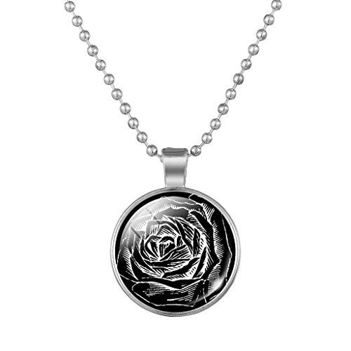 Weibliche Hübsche Blume Schwarz Zeit Edelstein Halskette Mit Silberfarbenen Kette (Vampir Weibliche Kostüme)