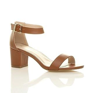 Ajvani Womens Ladies mid Heel peep Toe Buckle Ankle Strap Party Strappy Sandal Size 8 41