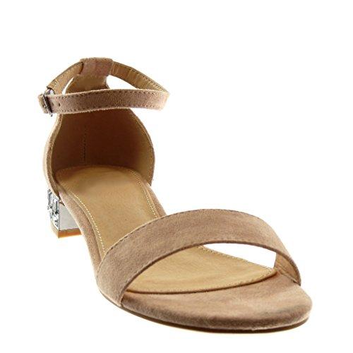 2 Cinturino chiaro 5 Caviglia Donna con Alla Blocco cm Strass Scarpe Tanga Angkorly a Moda Sandali Rosa Tacco 6CTOnqI