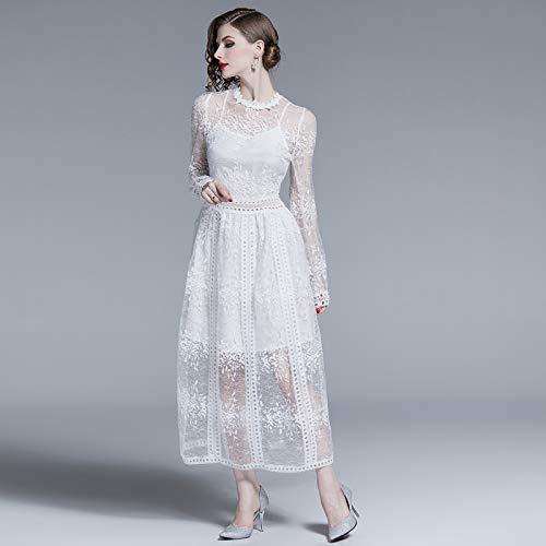 QUNLIANYI Abikleider Lang White Lace Dress Floral Long Maxi Kleider Frauen Party Elegant Long Sleeve Hollow Out Solid Clothes L -