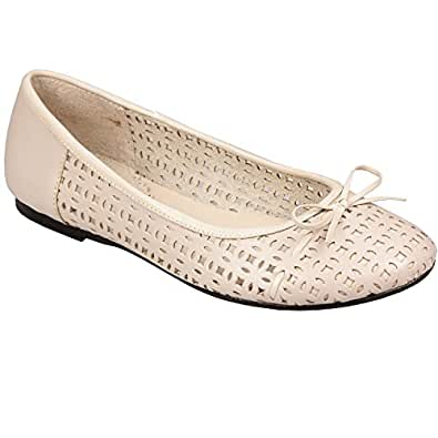 Womens Hush Puppies Phoenicia Shoes Ballerina in Natural - UK 6