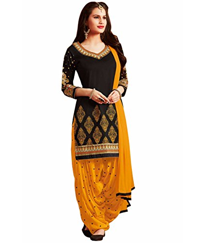Multi Retail Black Full Heavy Embroidery Glaze Cotton Unstitched Salwar Suit With Dupatta and Bottom Fabric