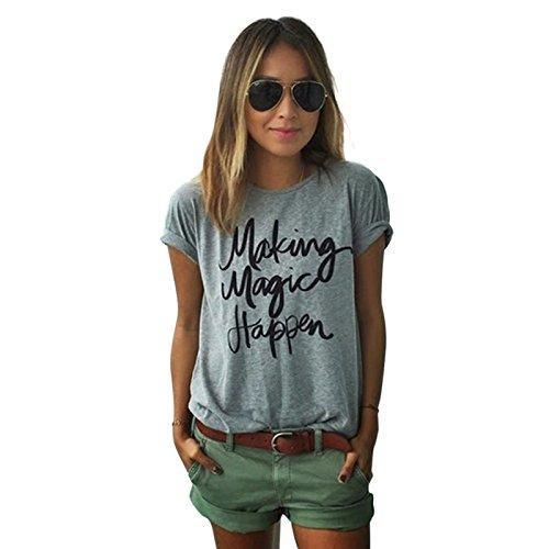 Yantu Damen girl Rundhals Top Sunmmer weich T-Shirt Oversize Funny Crew Neck Print Sweatshirt (S)