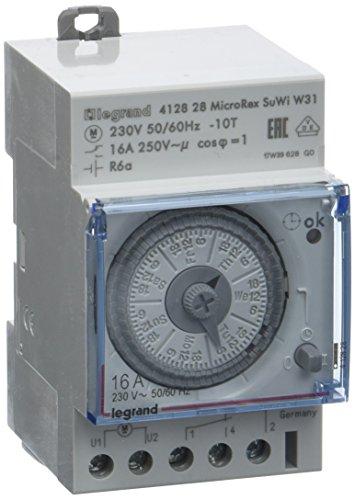 Legrand LEG412828 Interrupteur horaire programmable analogique/automatique/hebdomadaire 3 modules