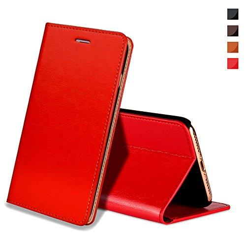EATCYE iPhone X Handyhülle,iPhone X Hülle, [Echt Leder] Handyhülle [Extra Dünn] Brieftasche Flip Lederhülle Schutzhülle [Versteckt Magnet] Echt Leder Brieftasche Hülle für Apple iPhone X (Rot)