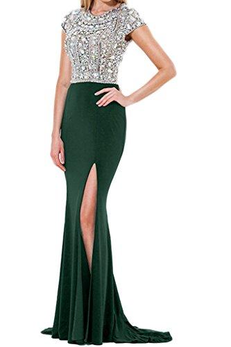 Promgirl House Damen Luxurioes Strass Etui Abendkleider Cocktailkleider Hochzeitsparty Lang mit kurze Aermel Grün