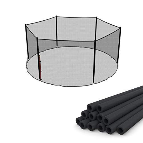 Ampel 24 Ersatz Sicherheitsnetz Set für Trampolin Ø 430 cm mit 12 Schaumstoffrollen, Ersatznetz für 6 Stangen außenliegend, Stangenschutz dunkelgrau