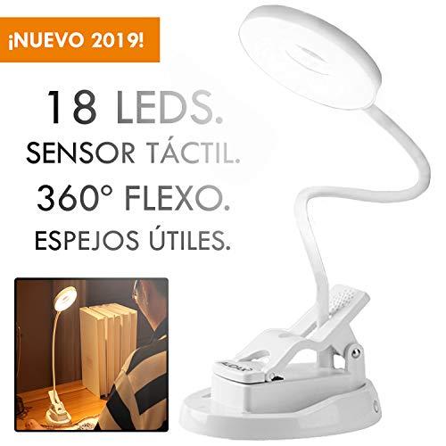 AUDAX Luz de Lectura, Lampara LED, con Pinza para Libros, con Espejos, de 18 LED
