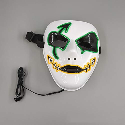 LMYG Halloween Maske, Halloween Schädel Horror Maske Maskerade Glow Maske EL Kaltlicht Glow Maske Konzert Requisiten, Bar, Elektronische Silbe, Party,VoiceControl