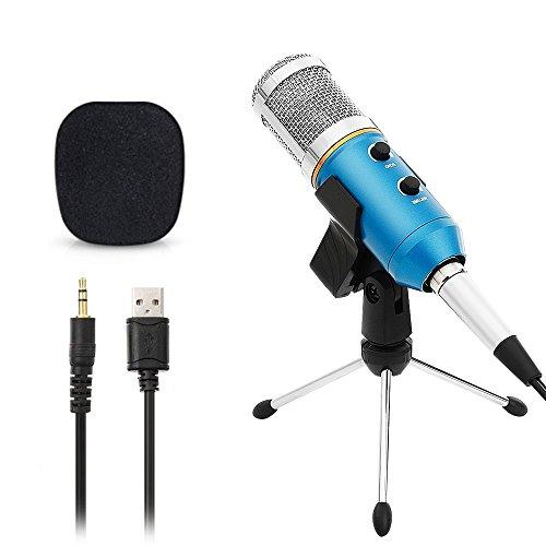 Micrófono Condensador USB para Grabar Micrófonos PC con Soporte Trípode Podcast Studio MIC Equipo de Sonido Profesional para PC,Ordenador,MAC,Grabar,Cantar,Azul(Cable audio 3.5mm,MIC Clip)