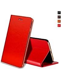 Coque iPhone XR,Housse iPhone XR,EATCYE Ultra Mince Premium Étui [En Cuir Véritable] Antichoc TPU Cuir Housse à Rabat Portefeuille Poids-Plume [Caché Fermoir Magnétique] pour Apple iPhone XR (Rouge)
