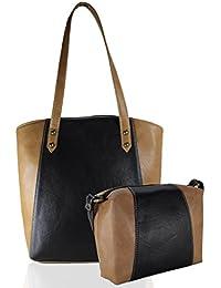 Fargo Motley PU Leather Women's & Girl's Shoulder Tote Handbag & Cross Body Side Sling Bag Combo (Black,Beige_FGO-043)