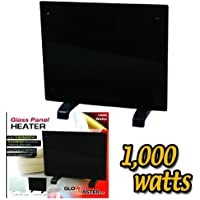 1000w GLOWMASTER BLACK GLASS FREE STANDING WALL MOUNTED PORTABLE ELECTRIC PANEL HEATER
