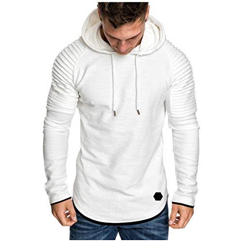 Xmiral Herren Sweatshirt Top Herbst Langarm Plaid Hoodie Mit Kapuze T-Shirt Outwear Streetwear Kapuzenpullover Outdoor Sportbekleidung(Y Weiß,XXL)