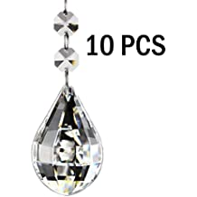 Fushing 10pcs luth Style Rideau de perles de cristal Pendants en Lustre lampe Chaîne prismes pour décoration de fête de mariage, 38 mm