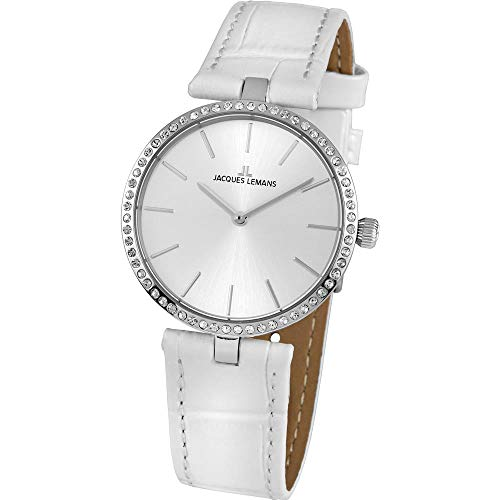 Jacques Lemans Women's Milano 34mm White Leather Band Quartz Watch 1-2024G