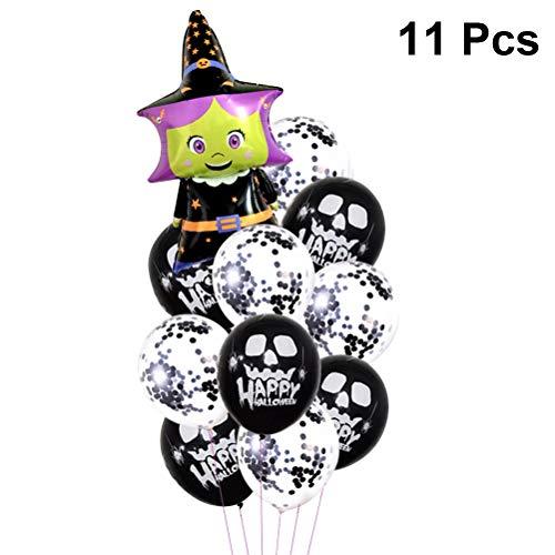 -Party-Luftballons mit Totenkopf, Latex-Luftballons, Hexen-Luftballons aus Aluminiumfolie, mit Konfetti für Halloween-Party ()