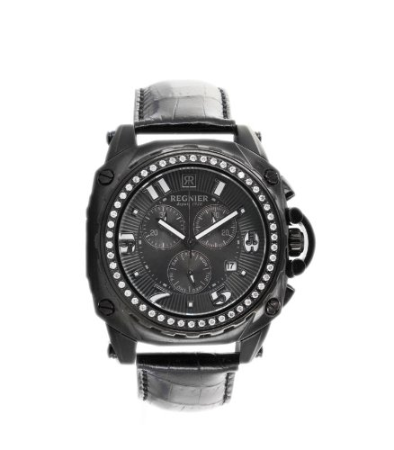 Régnier Variya R1286D Men's Chronograph Black Stainless Steel Watch 2040322 with Diamonds Bezel Black Leather Strap