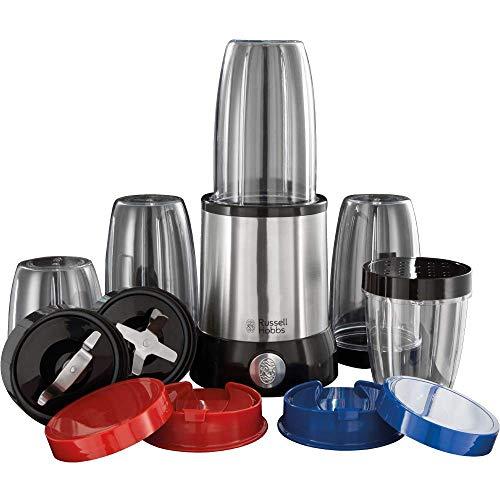 Russell Hobbs Nutri Boost - Batidora mini de 15 piezas, vasos con tapa para llevar, 700W, libre de BPA, acero inoxidable y negro - ref. 23180-56