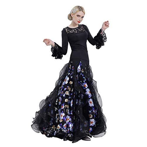 Dance Dress Performance Clothing Costume Large Pendulum Skirt Eisseide/Bunte Seide Lace Dark Blume, Princess Sleeve, S ()