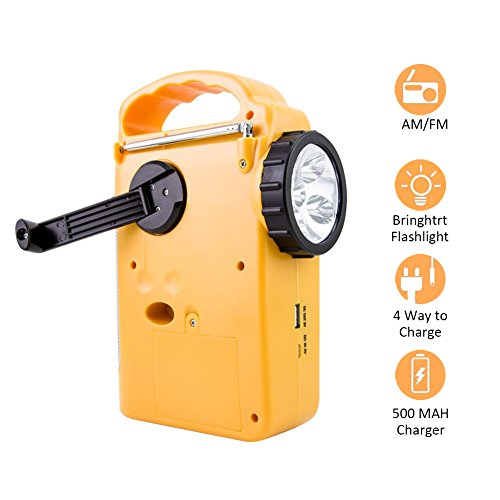 Solar Radio Hand Kurbel selbst Powered AM/FM/WB Wetter Radio Dynamo Notfall LED Taschenlampe Handy Ladegerät Power Bank Tragbar für Wandern Camping Outdoor (Solar Lampe Und Radio)