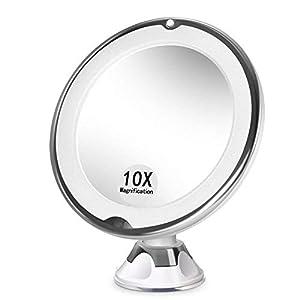 Ealicere 10 Fach Vergrößerung LED-Leuchten Kosmetikspiegel 360 Grad Drehung mit Saugnapf für Hand-, Stand- oder Wandbetrieb