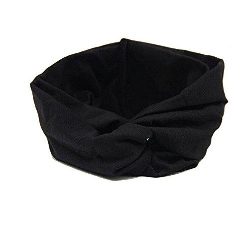 ILOVEDIY Bandeau Cheveux Femme Noeud Turban Elastique Yoga Sport (noir)