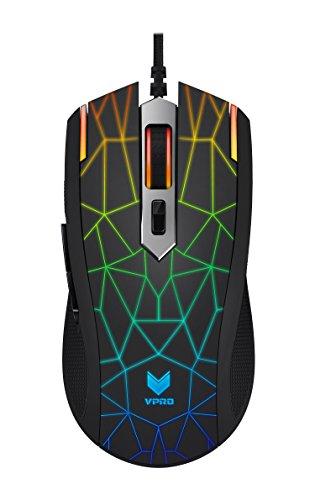 Rapoo VPRO V26S LED Gaming Maus Touchsensor (umschaltbare 7000 DPI, 16 Mio. Farben Multi-Color Beleuchtung, ergonomisch, 5 programmierbare Tasten) schwarz