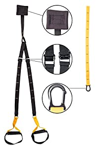 Suspension Trainer Kit Home Gym Resistance Fitness Straps Bodyweight Strength Workout Training System Aerobic Exercise for Crossfit with Abdominal Exercise Roller Ab Wheel and Knee Pad Mat