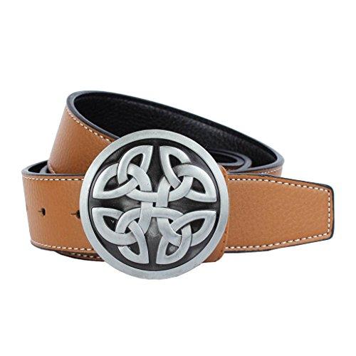 MagiDeal Belt Vintage Style for Men Ornament for Jeans - brown, round buckle celtic knot