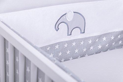Amilian® Bettumrandung Nest Kopfschutz Nestchen 420x30cm, 360x30cm, 210x30cm, 180x30 cm Sternchen Grau X10 mit STICKEREI Bettnestchen Baby Kantenschutz Bettausstattung (210cm (für das Babybett 140x70cm- Kopfschutz))