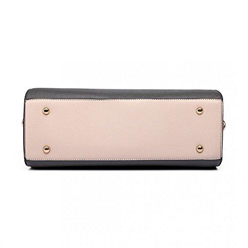 Miss Lulu Damen Klassische Handtasche Winged Schultertasche Groß Umhängetasche Taschen 6627 Grey/Beige