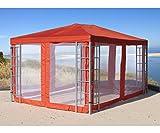 GRASEKAMP Qualität seit 1972 Aluoptik Pavillon 3x4m Terra mit 4 Seitenteilen Moskitonetz Rankpavillon Partyzelt Gazebo