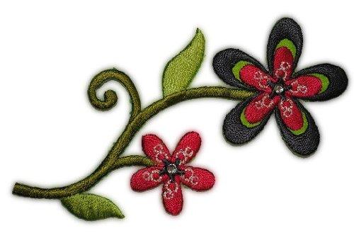 Blumenranke 10,5 cm * 5 cm Bügelbild Aufnäher Applikation grün Oliv dunkelgrün ()